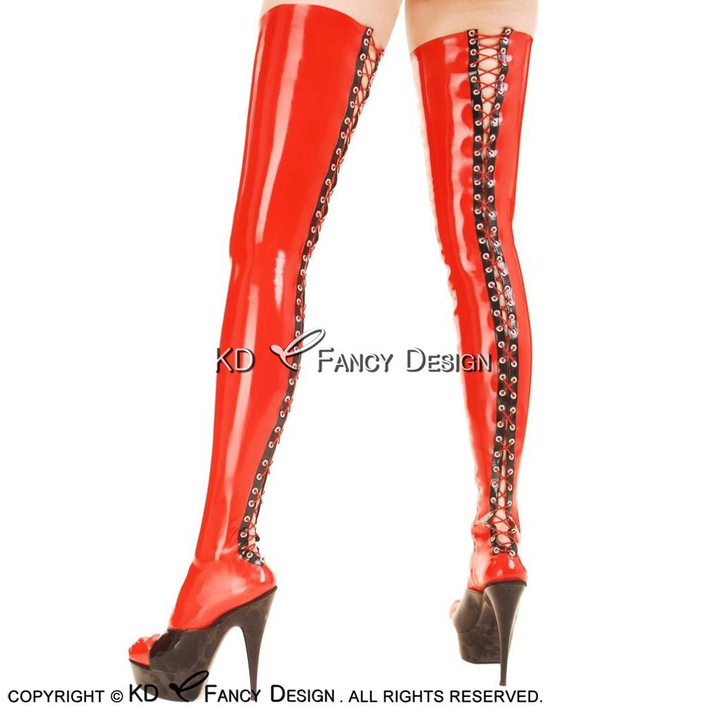 Red With Black Sexy Long Latex Stockings With Lacing At Back Zippers At Sides Rubber Thigh High Stockings WZ-0021