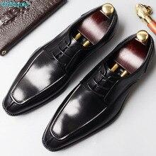 2019 Italian Handmade Vintage Luxury Brand Wedding Party Business Dress Footwear Genuine Leather Flat Mens Derby Shoes