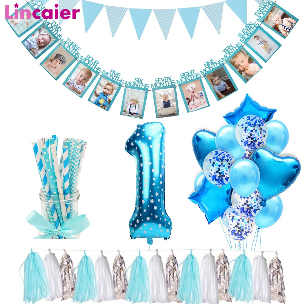 Lincaier First Birthday Baby Boy Party Decorations 12 Months Photo Frame Banner 1st  Birthday My 1 Year I AM ONE Supplies-in Banners, Streamers & Confetti from Home & Garden