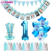 Lincaier First Birthday Baby Boy Party Decorations 12 Months Photo Frame Banner 1st  Birthday My 1 Year I AM ONE Supplies