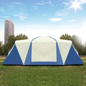 Image 3 - הגעה חדשה Ultralarge 3 שינה 6 12 אדם שימוש כפול שכבה עמיד למים ארבעה עונה Windproof קמפינג אוהל ביתן גדול