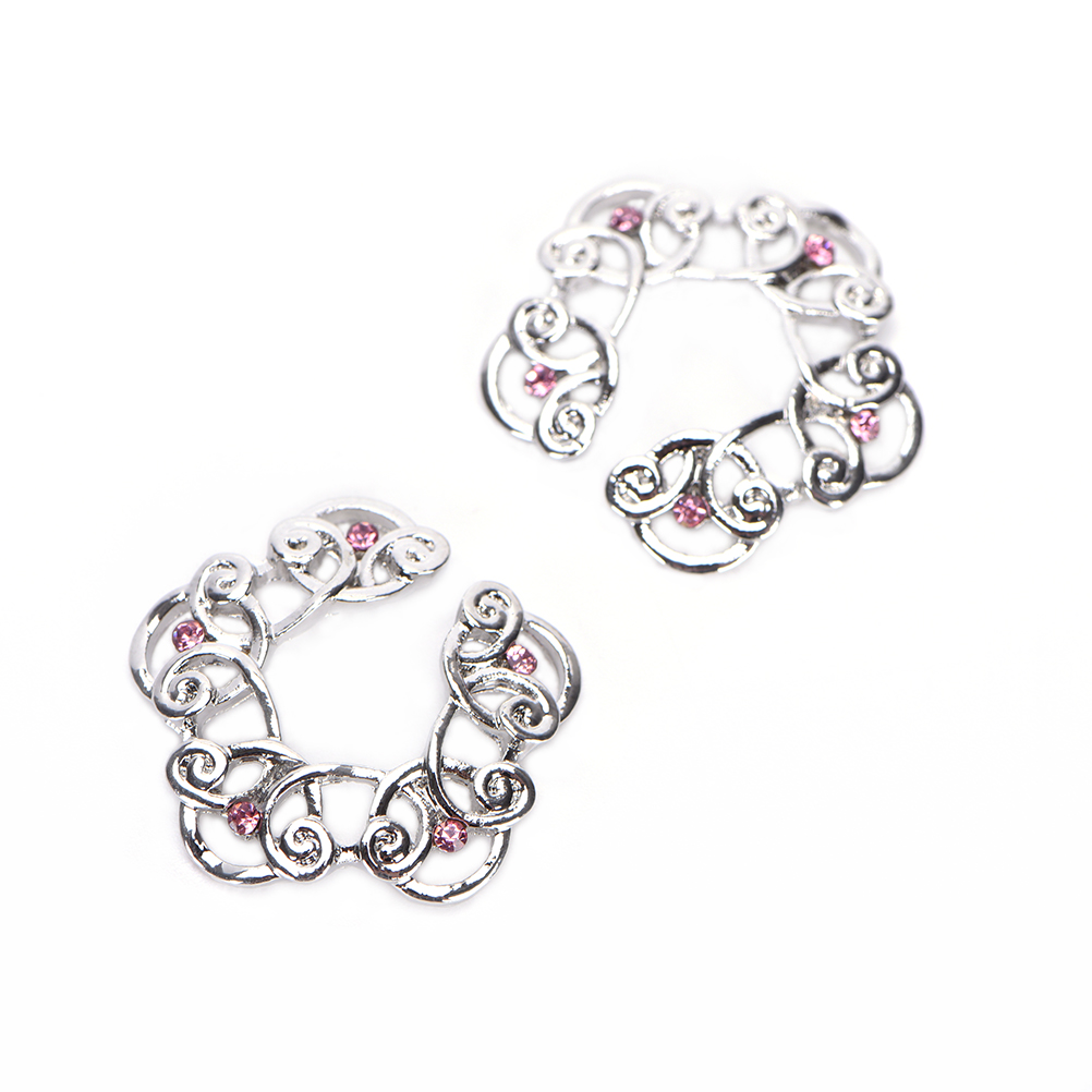 Wholesales 1 Pair 316L Stainless Steel Non Piercing Clip On Flower Designing Nipple Ring 10mm Christmas gifts