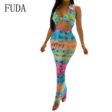 FUDA Printed Tie Dyed Sexy Halter Dress Elegant Deep V Neck Sleeveless Hollow Out Bodycon Bandage Women Summer Vintage