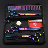 Brand Pet Grooming Scissors Set 7inch Professional Japan 440C Dog Shears Hair Cutting Thinning Curved Scissors With Comb Bag