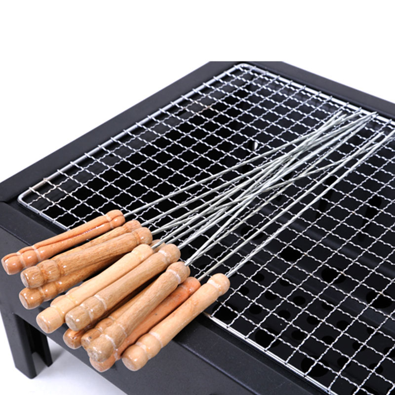 6pcs/Set Metal Bbq Barbecue Meat Skewer Grill Kebab Needles Stick Stainless Steel Skewer with Wooden Handle Kitchen Needle