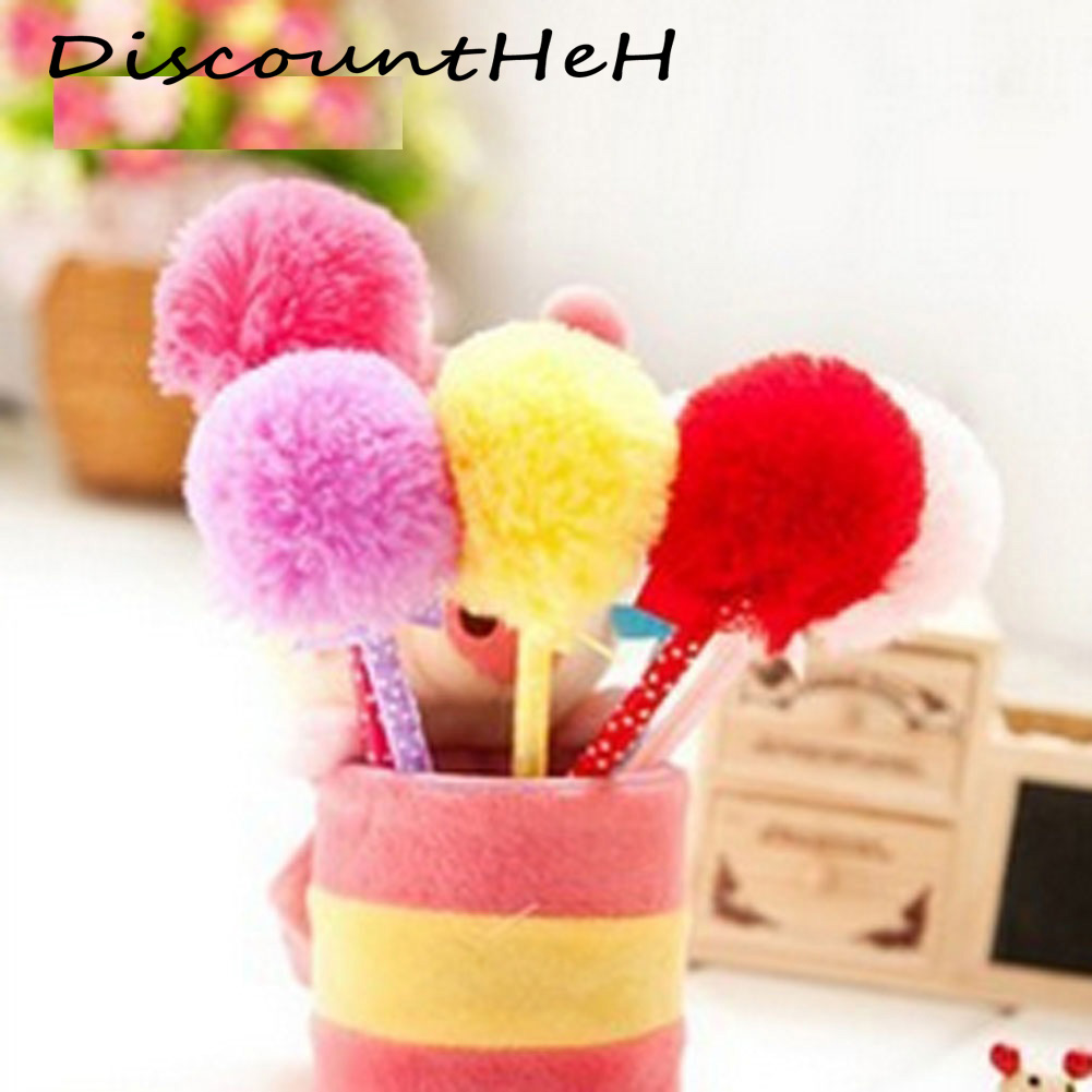 1 pcs  cute stationery bowknot hair ball ballpoint  pen plush pen student supplies