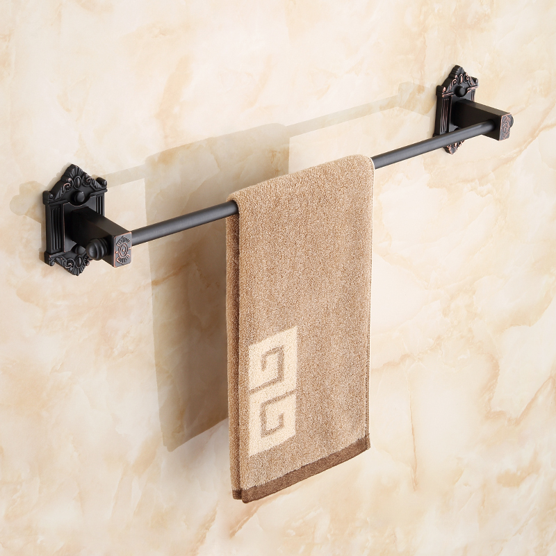 AUSWIND European Black Towel Bar Bathroom Antique Single Pole Simple Towel Rack Wall Hanging bathroom products Hl07 stainless steel bathroom towel rack rotation activities bar single pole double hanging three bathrooms