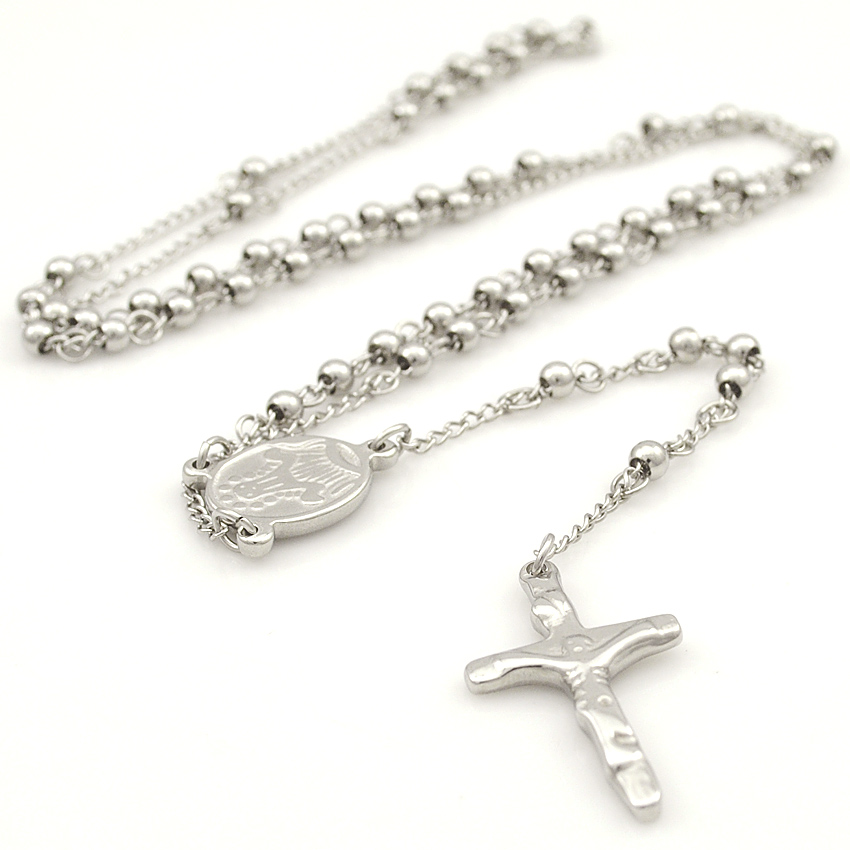 Gokadima Stainless Steel Necklace Men Jewelry or Women Catholic Rosary Beads Chain Necklace Cross For Christmas Gift, 4mm / 6mm