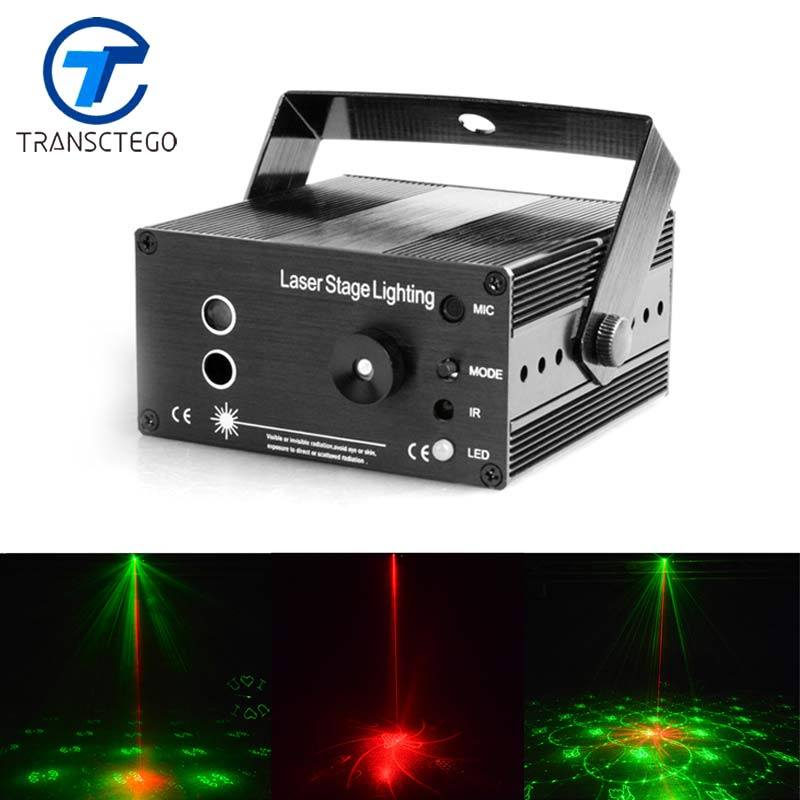TRANSCTEGO Laser Disco Light Stage Led Lumiere 48 in 1 RGB Projector DJ Party Sound Lights Mini Laser Lamp Strobe Bar Lamps transctego 9 colors 27w crystal magic ball led stage lamp 21 mode disco laser light party lights sound control dmx lumiere laser