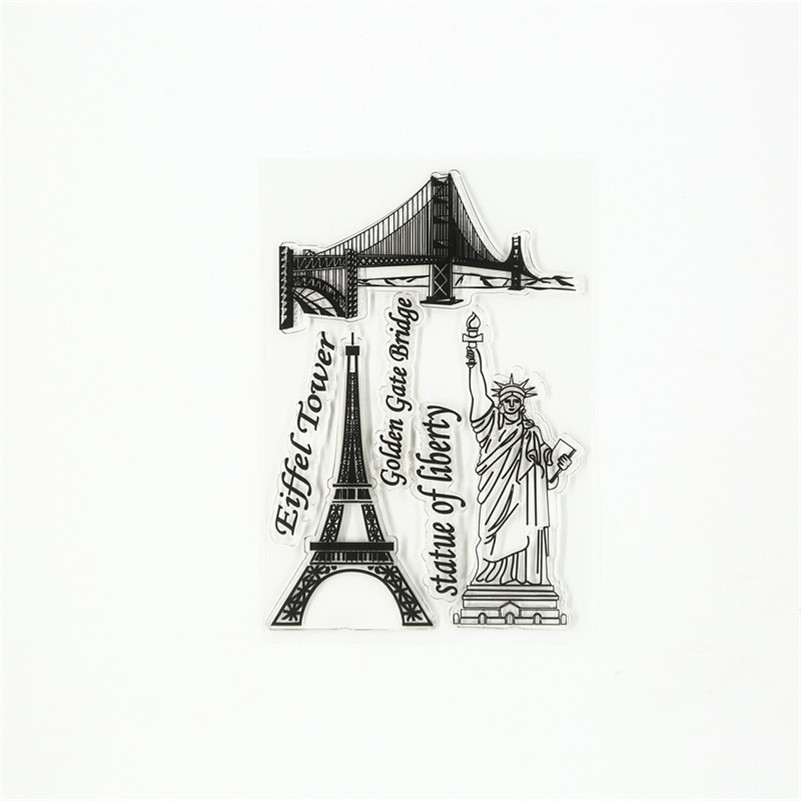 famous building Eiffel tower Statue of Liberty  Transparent Clear Stamp DIY Silicone Seals Scrapbooking Card Photo Album TM-051 3d puzzle metal earth laser cut model jigsaws diy gift world s famous building eiffel tower big ben tower of pisa toys