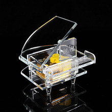 F2111 Fashion Crystal Glass Piano Music Box Originality Lovers Gift The Music Box Bedroom Ornament