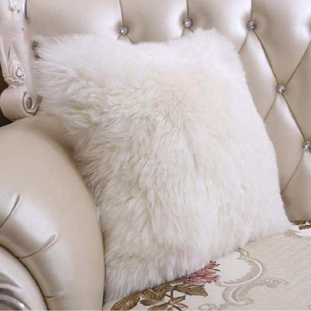 Faux Fur Throw Pillow Case Cover for Bedroom Chair Luxury Decorative 18 x 18 Inch 45 x 45 cm