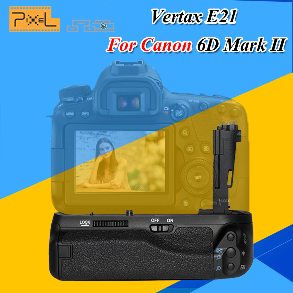 PIXEL Work With LP-E6/LP-E6N Battery BG-E21 E21 Battery Grip Handle For Canon EOS 6DII 6DMark II Digital SLR Camera meike mk 5d4 vertical battery grip for canon eos 5d mark iv as bg e20 compatible camera works with lp e6 or lp e6n battery