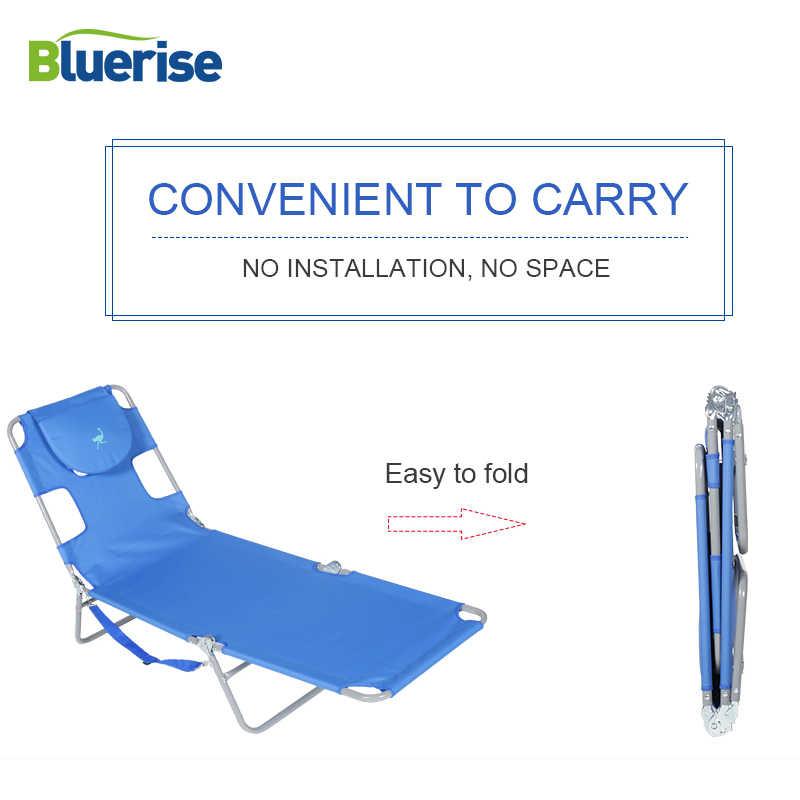 BLUERISE Móveis Chaise Lounge Cadeira de Praia de Dobramento Ao Ar Livre Três Posições Reclinar Espreguiçadeira ou Colocar O Plano de Bronzeamento Massagem