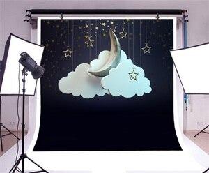 Image 3 - Laeacco фоны для фотосъемки с облаками Луной и звездами, фоны для фотосъемки, Фотофон для детского душа, фотозона для новорожденных, для фотостудии