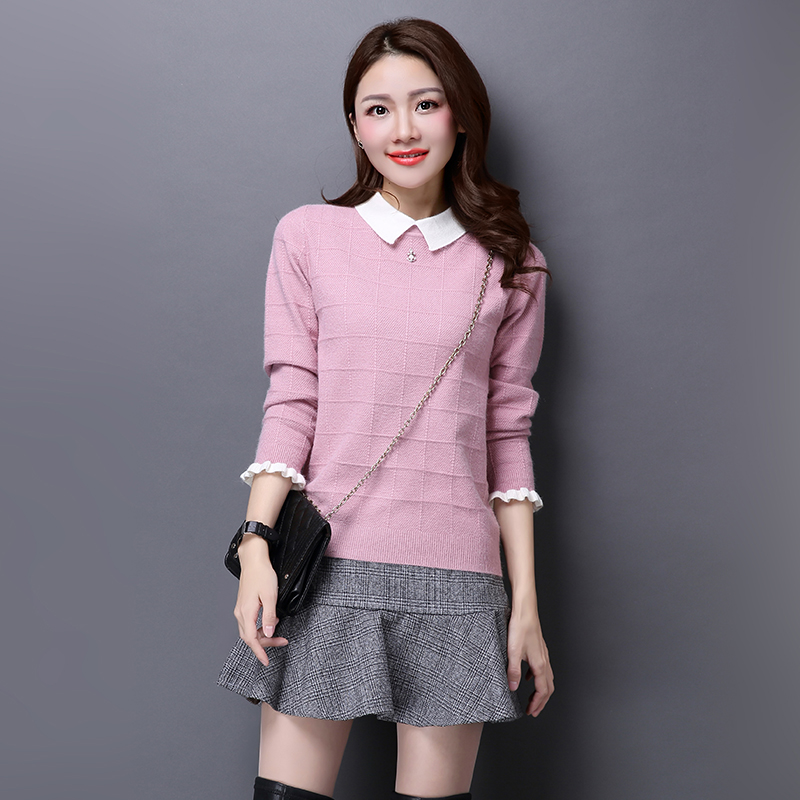 El otoño y el invierno de las mujeres suéter flojo suéter collar de peter pan de
