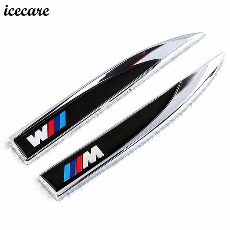 Icecare M Emblem 3D Car Sticker Blade Fender side Decle Body For Bmw E39 E90 E60 E36 E34 F30 F10 X5 E53 F20 M3 M5 M Performance