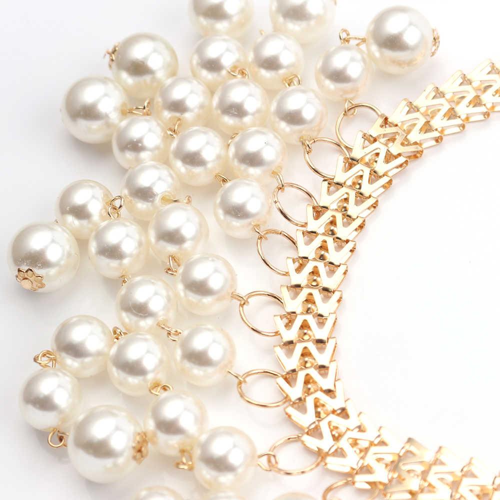Multi couche gland collier de perles Chic naturel perle pendentif colliers pour dames robe de mariage longue clavicule collier bijoux