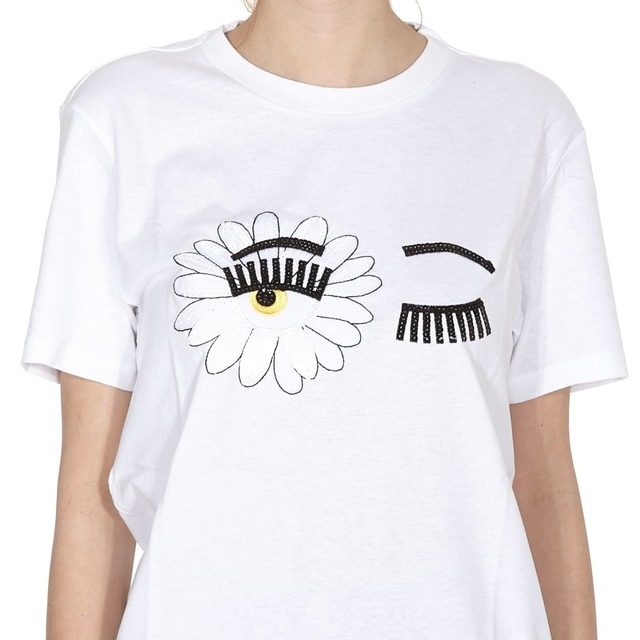 2018 New Fashion Summer Women T Shirts Chiara Ferragni Sunflower Big Eyes Embroidery Sequins Casual Tops