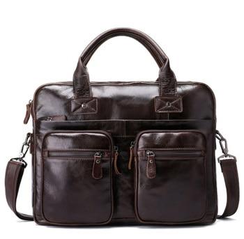 men's Genuine leather shoulder messenger bag Men Business laptop computer Briefcase man's  handbag briefases male messenger bags Men's Backpacks