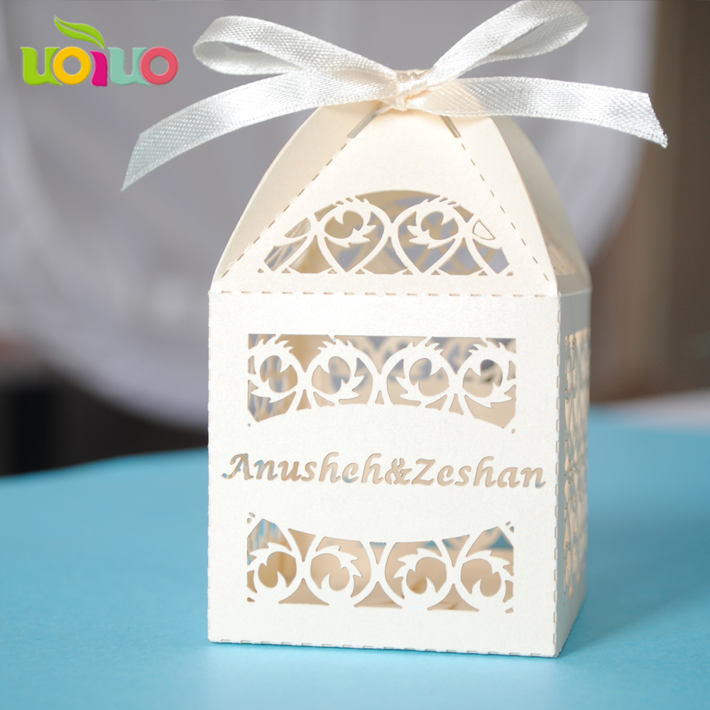 30 Colors 50pcs fence Shaped Wedding Candy Boxes Favor Ribbon Gifts ...