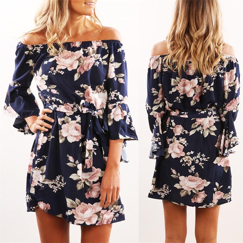 Mujeres vestido 2018 verano Sexy Off hombro Floral imprimir vestido de gasa Boho estilo corto del partido Vestidos de fiesta