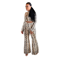 Snake Print Matching Sets For Women Sweat Suit Set Fashion Snakeskin Slim Plus Size Tracksuits Women 2 Piece Set Top And Pants