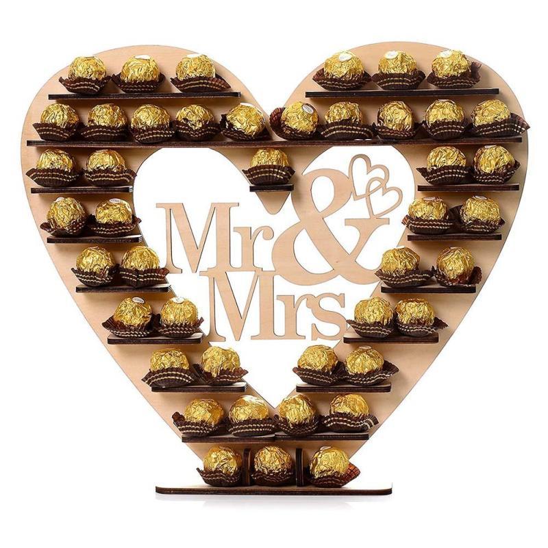 El Sr. Y la sra. corazón boda árbol soporte de exhibición de la pieza central de la decoración de la boda árbol de Chocolate Ferrero Rocher Chocolate soporte dulces A20