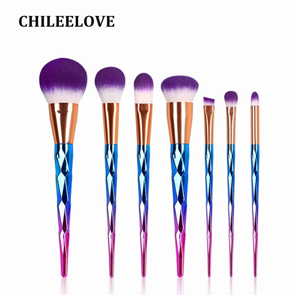 CHILEELOVE 7 Pcs/Lot Colorful Diamond Mermaid Women Girl Base Pro Makeup Brush Accessories Set For Foundation Eyeshadow