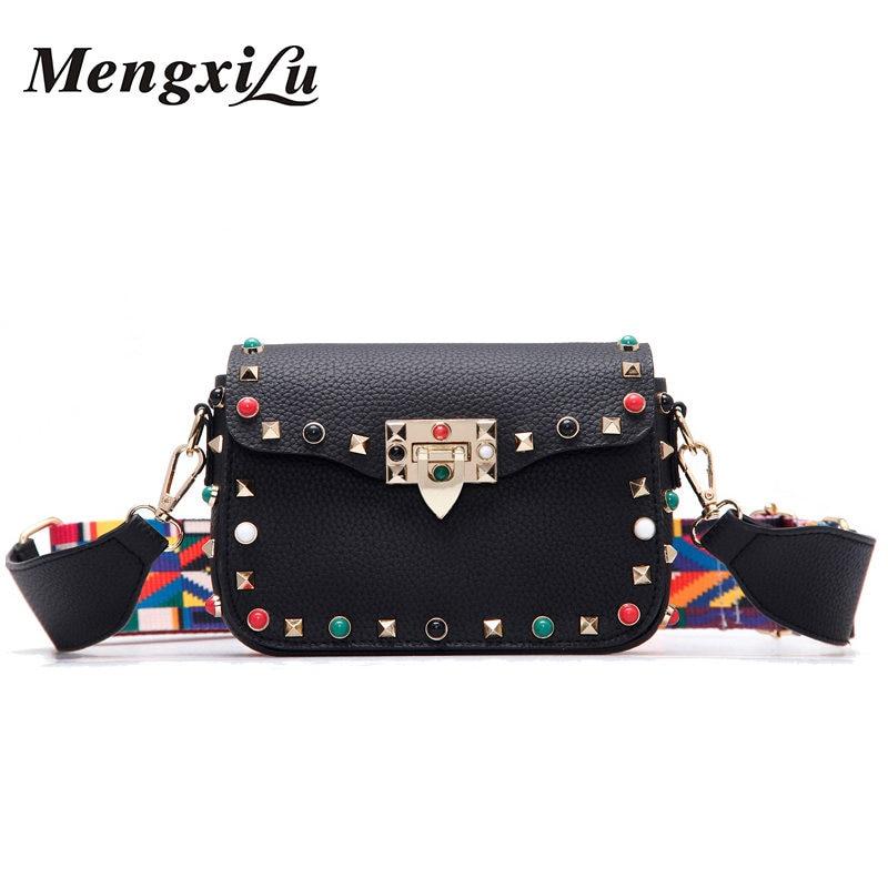 New Brand Rivet Women Shoulder Bags Female Colorful Strap PU Leather Ladies Messenger Bags Luxury Handbags Women Bags Designer