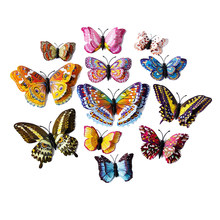 12pcs 3D Luminous Double wings Butterfly Sticker Art Decal Home Decor PVC Wall Mural Stickers DIY Christmas Wedding Decoration(China)