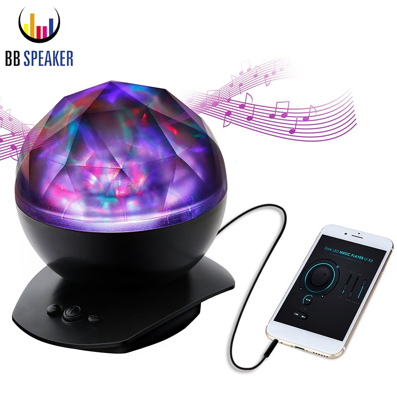 Night Light Remote Control Ocean Wave Projector LED Lamp USB With 8 Lighting Mode & Speaker Music Starry Sky Ocean Light Project