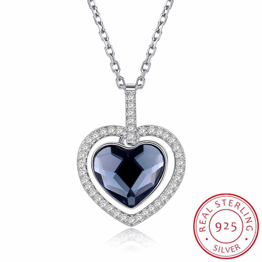 LEKANI Made With SWAROVSKI Crystals Heart Pendant Necklaces Real S925  Silver Fine Jewelry For Mother's Day