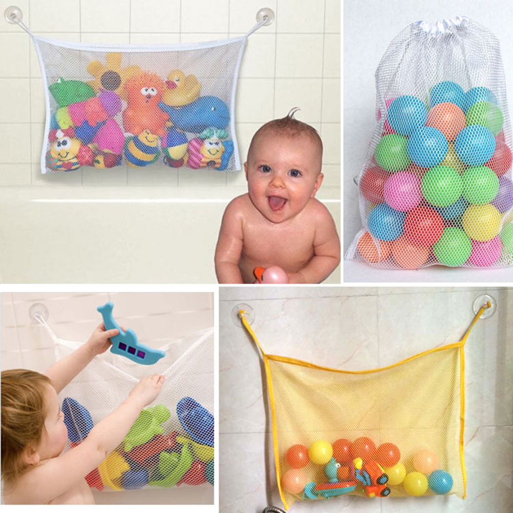 1pcs 37*37 Cm Baby Bathroom Mesh Bag Child Bath Toy Bag Net Suction Cup Baskets