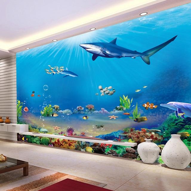 Custom 3D Wall Murals Wallpaper Underwater World Wall ...
