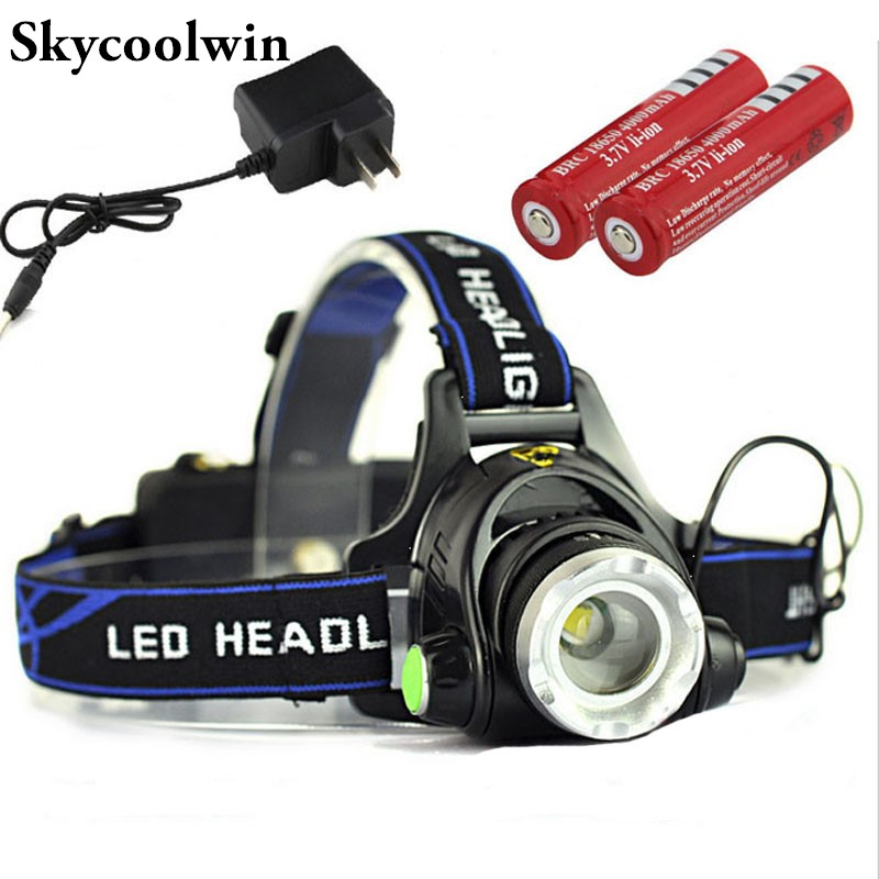 Rechargeable Headlight CREE XML T6 2500Lumens Head Lamp torch LED Headlamp + 18650 Battery Flashlight Lantern night Fishing