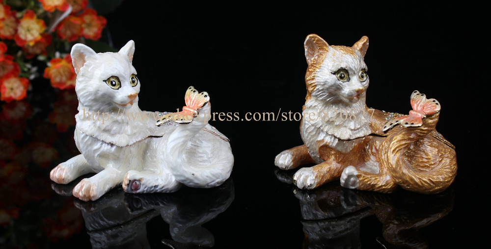 Cute Cat Shaped Bejeweled Trinket Box Crystal Collective Box Kitty Cat Jewel Studded Snap Closure Jewelry/Trinket Box Figurine