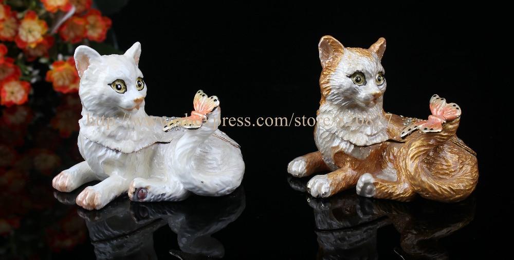 Cute Cat Shaped Bejeweled Trinket Box Crystal Collective Box Kitty Cat Jewel Studded Snap Closure Jewelry/Trinket Box Figurine
