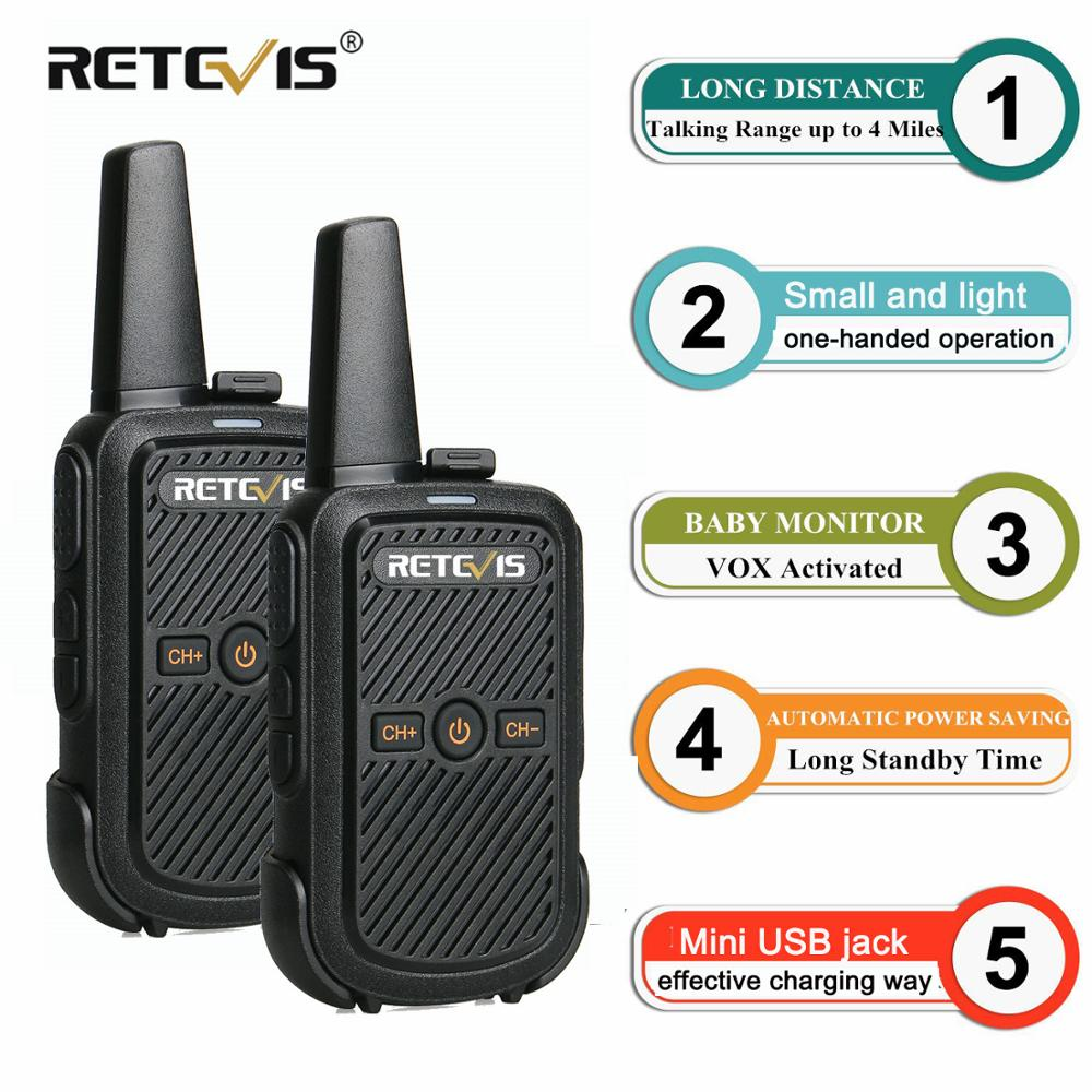2pcs Retevis RT15 Mini Walkie Talkie Portable Two Way Radio Station UHF VOX USB Charging Transceiver Communicator Walkie Talkie-in Walkie Talkie from Cellphones & Telecommunications