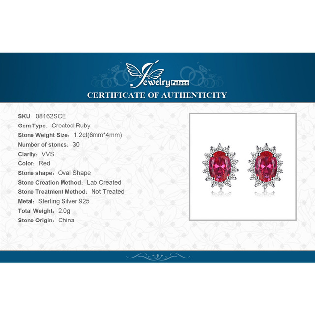 JewelryPalace Princess Diana William Kate Middleton's 1.5ct  Red Created Ruby Stud Earrings 925 Sterling Silver Fine Jewelry
