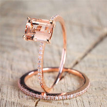 Female Square Ring Set Luxury 18KT Rose Gold Filled Ring White Crystal Zircon Wedding Band Promise Engagement Rings For Women(China)