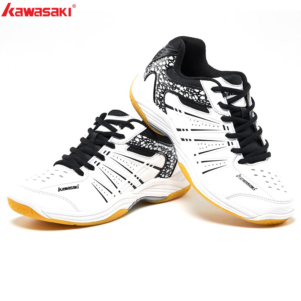 2019 KAWASAKI Professional Black White Badminton Shoes Lace Up Sneakers Breathable Men Women  Indoor Court Sports Shoes K-063