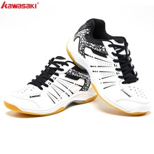 2019 KAWASAKI Professional Black White Badminton Shoes Lace Up Sneakers Breathable Men Women  Indoor Court Sports Shoes K-063 li ning women s professional cushion badminton training shoes breathable sneakers lining double jacquard sports shoes aytm078