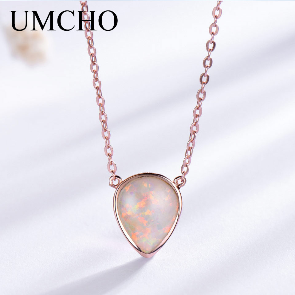 UMCHO 925 Sterling Silver Drop Opal Chain Necklacesfor Women Classic October Birthstone Necklace Party Gift Wedding Fine Jewelry