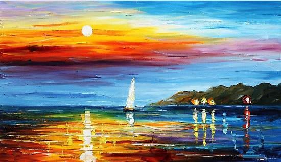 100% Handpainted Modern Ocean Sea Scenery Landscape oil ...