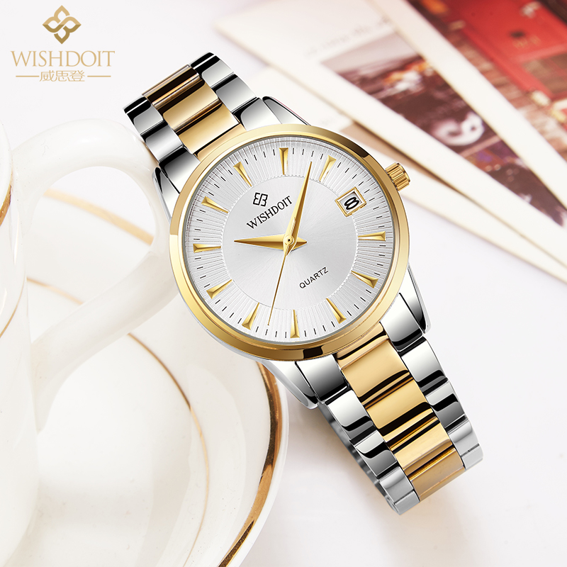 WISHDOIT חדש שעון נשים אופנה יוקרה שעון Relojes Mujer נירוסטה קוורץ נשים שעונים zegarek damsk montre femme