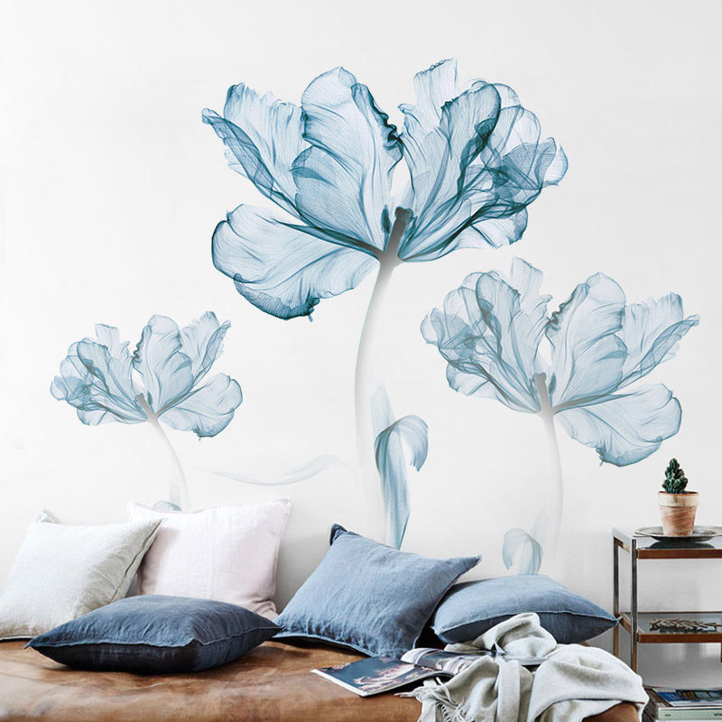 Large Blue Flower Wall Sticker Home Decor Poster