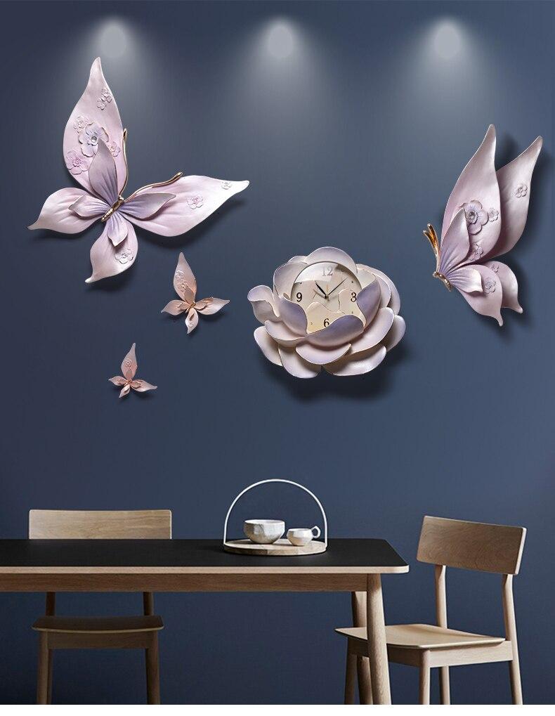 Relojes de pared estéreo 3D de personalidad de lujo flor para colgar en pared decoración de mariposas artesanías sala de estar KTV murales de pared - 6