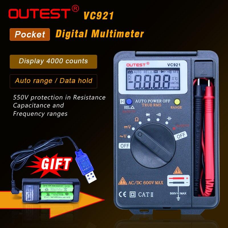 OUTEST 3 3/4 Multitester VC921 3999 DMM vs VICTOR vc921 Mini bolsillo de mano integrado multímetro de frecuencia Digital