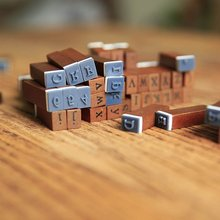 DIY Vintage Wood Stamp Blocks Handwriting Alphabet Lower/Upper Case Digital
